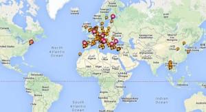 Mappa dei viaggi effettuati negli ultimi 10 anni