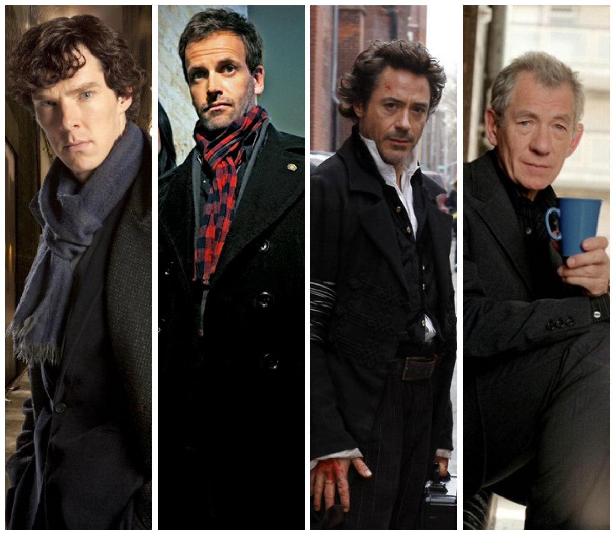 Tutti i recenti Sherlock Holmes. Da sinistra: benedict cumberbatch (Sherlock - BBC), Jonny Lee Miller (Elementary - CBS), Robert Downey Jr (Sherlock Holmes - Guy Ritchie), Ian McKellen (Mr Holmes)