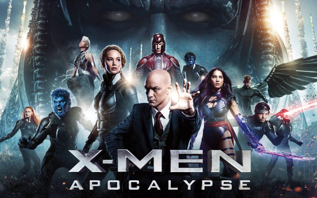 Copertina del film di cui facciamo di seguito la recensione X-Men Apocalypse . Sono presenti tutti i personaggi principali, da Xavier a Magneto a Mystica etcetera.