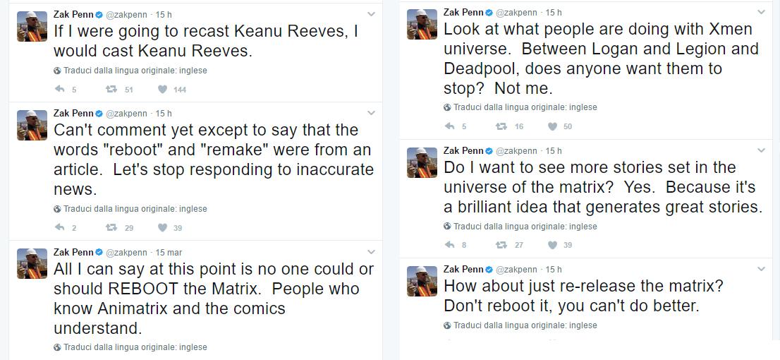 Nuovo Matrix : i tweet dello sceneggiatore Zak Penn