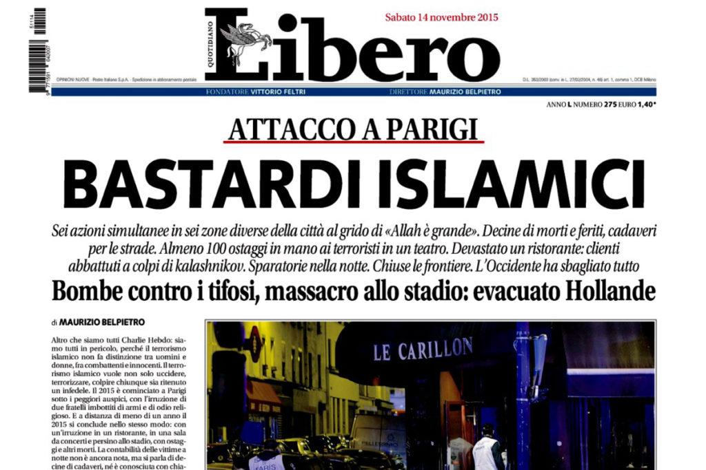 """Il velo, i media e il dialogo che non c'è: Libero e i """"bastardi islamici"""" dopo gli attentati di Parigi"""