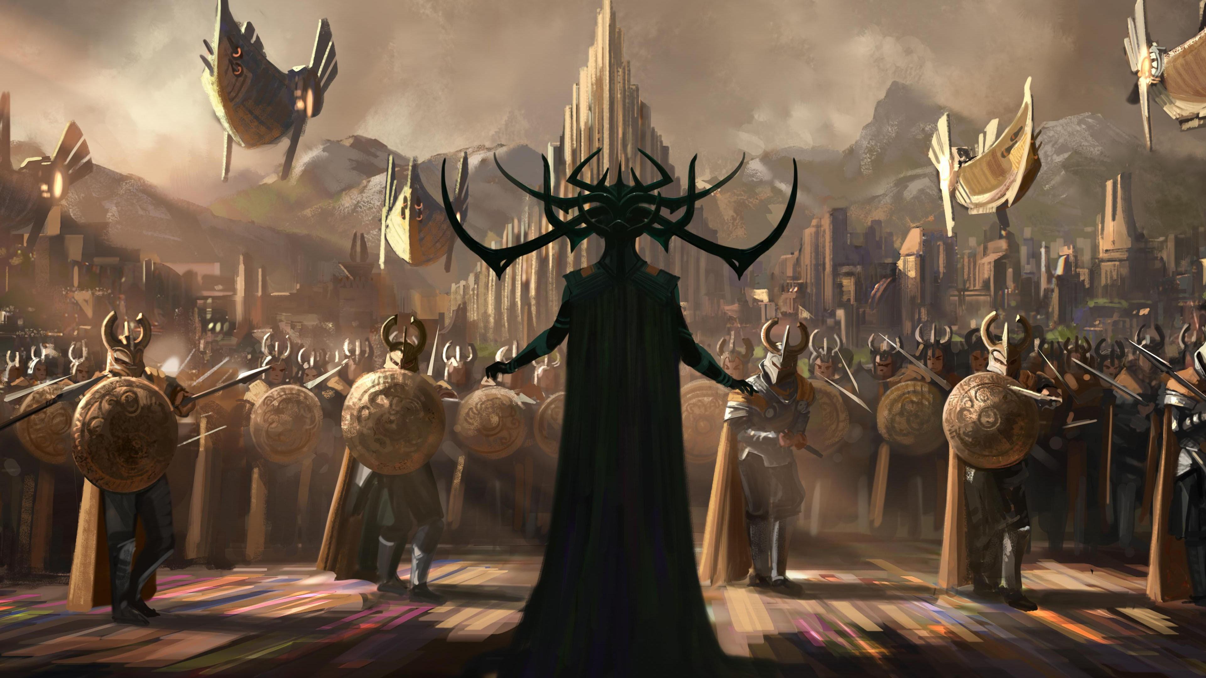 Thor Ragnarok: Hela si erge innanzi alle armate di Asgard (artwork della produzione)