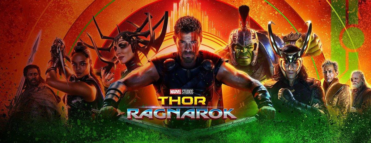 Il banner orizzontale di Thor Ragnarok ci mostra i protagonisti del film.