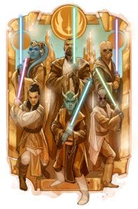 una delle copertine di star wars high republic, con alcuni dei nuovi cavalieri jedi