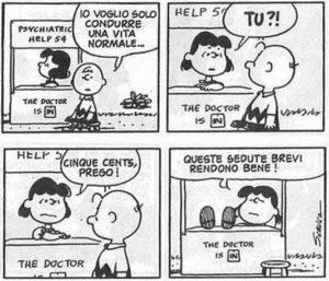 Se gli psicologi italiani fossero tutti come Lucy dei Peanuts, che in questa vignetta non tratta proprio benissimo il povero Charlie Brown, ci sarebbe da preoccuparsi