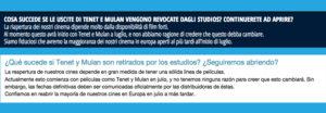 Il confronto tra il testo del sito italiano e quello spagnolo della catena Uci cinemas