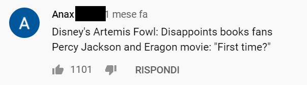 """commento al trailer: Film Disney di Artemis Fowl: delude i fan dei libri. Film su Percy Jackson ed Eragon: """"Prima volta?"""""""