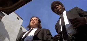 Pulp Fiction, Vince e Jules ritratti in Quentin Tarantino shot