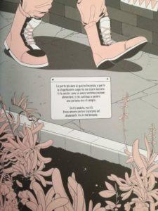 """Immagine di una scarpa e di un messaggio mandato - Tavola tratta da """"Laura Dean continua a lasciarmi"""""""
