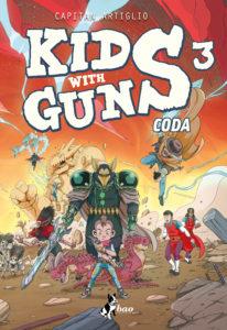 Copertina del terzo volume di Kids with Guns. Sono presenti la protagonista ed il nemico principale