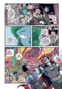 Tavola che mostra un combattimento tra vari personaggi. Sono presenti diversi alieni e cowboy