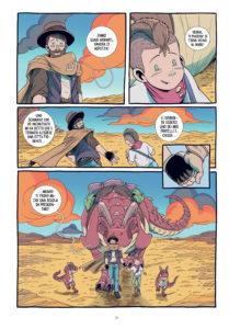 Tavola di Kids with Guns 3. Sono presenti i protagonisti ed un dinosauro