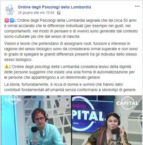 Psicologia e sessismo - Uno screen del post dell'Ordine degli psicologi della Lombardia che ha preso posizione contro i contenuti dell'intervista a Morelli