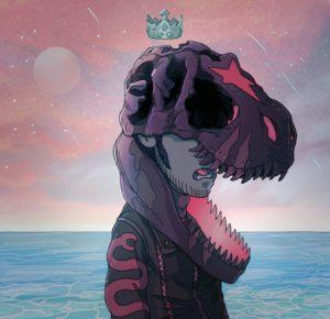 Autoritratto dell'autore con un teschio di dinosauro in testa