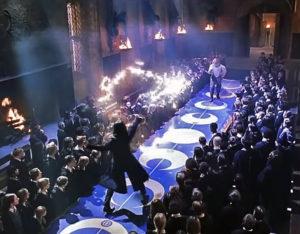 Il duello tra Piton e Allock in Harry Potter e la camera dei segreti