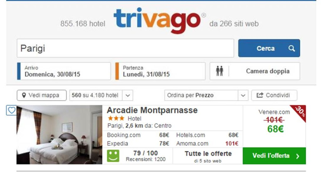 Screenshot Trivago - Prenotazione hotel