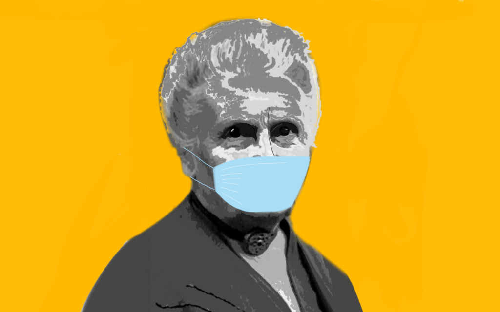 Artwork con Maria Montessori che indossa una mascherina chirurgica