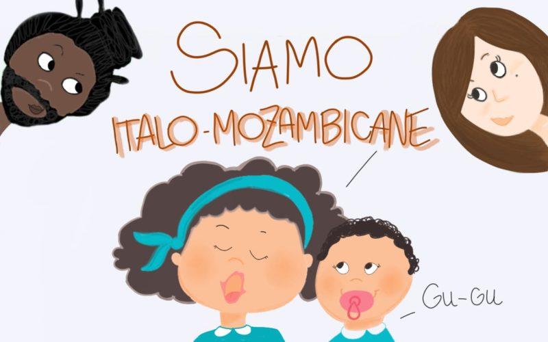 Due bambine annunciano di essere italomozambicane. Sullo sfondo, papà mozambicano e mamma italiana. Copertina del nostro articolo sulla questione della costruzione identitaria