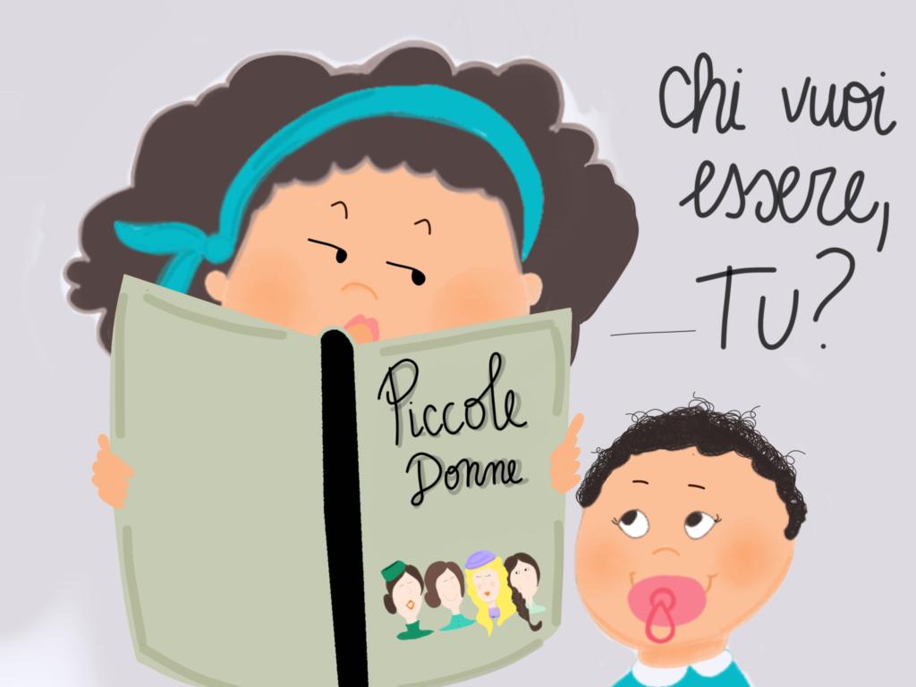 Due sorelline leggono Piccole Donne. La grande chiede alla piccola con quale delle quattro protagoniste si voglia identificare